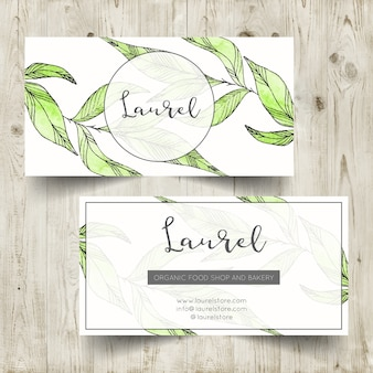 Botanical watercolor business card template