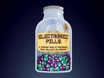 Bottle of electronic pills vector