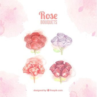 Bouquets with different types of roses