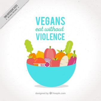 Bowl with vegetables and fruits background