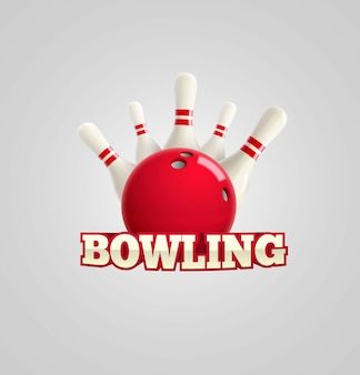 Bowling realistic theme  Editable vector on white background