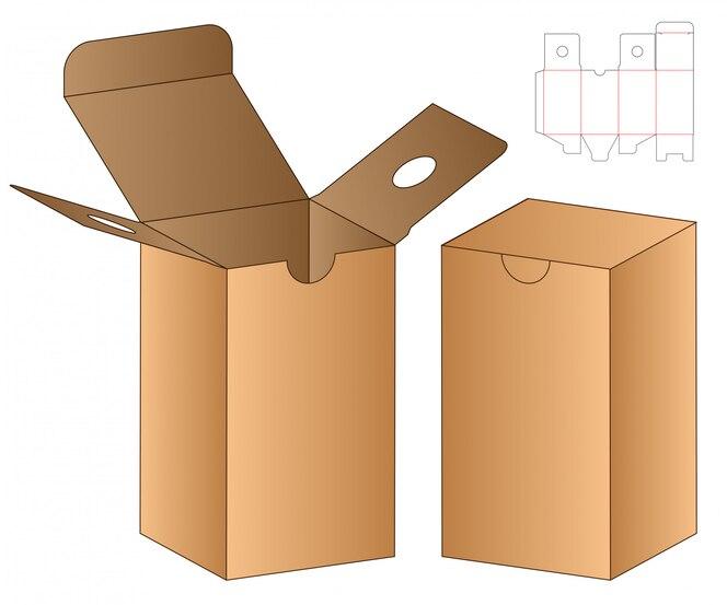Box cut out template, die cut template design.