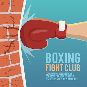 Boxer gloves hitting brick wall cartoon boxing fight club poster vector illustration