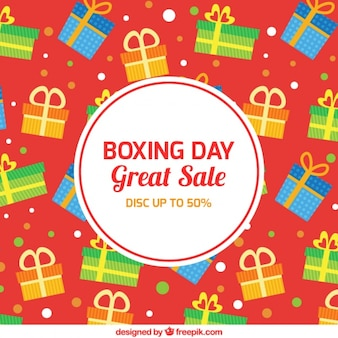 Boxing day background with colorful gifts in flat design