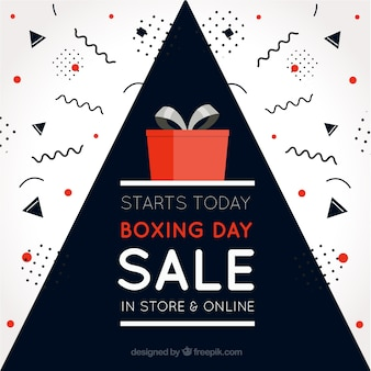 Boxing day background with red gift and geometric shapes