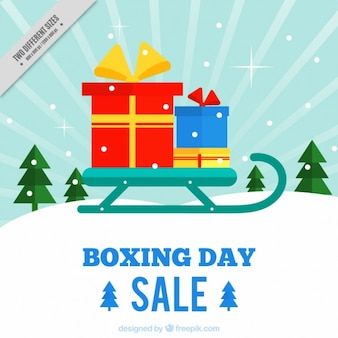 Boxing day background with sled and gifts