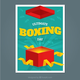 Boxing day sale poster with an open box
