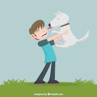 Boy and cute dog