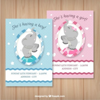 Boy and girl baby shower cards