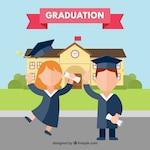 Boy and girl celebrating graduation with flat design