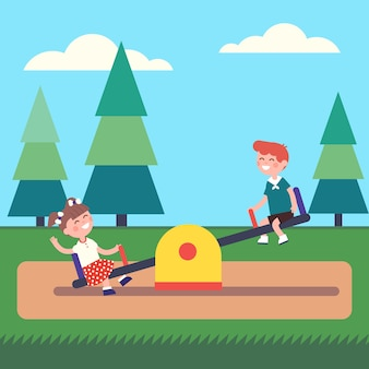 Boy and girl kids swinging on seesaw at the park