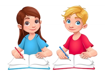 Boy and girl with books and pencils