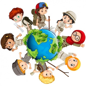 Boy and girls scouts around the earth