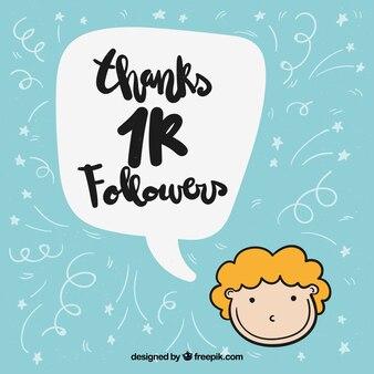 Boy background grateful for 1k followers