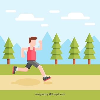 Boy background running through the park
