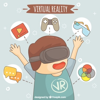 Boy background with virtual reality glasses and elements