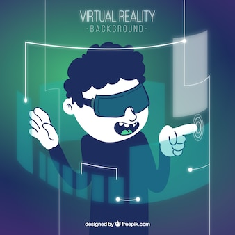 Boy background with virtual reality