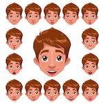 Boy faces collection