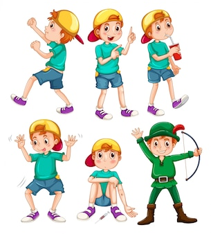Boy in different poses illustration