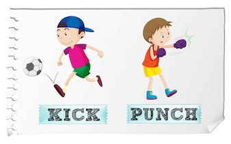 Boy kicking and punching