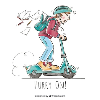 Boy riding electric scooter with backpack