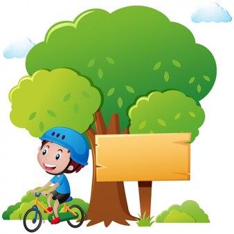 Boy with a bike design
