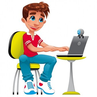 Boy with a laptop design