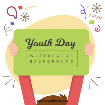 Boy with a youth day sign background