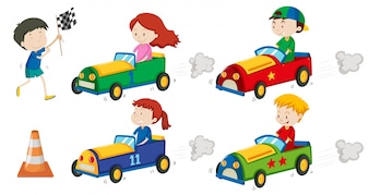 Boys and girls in racing cars illustration