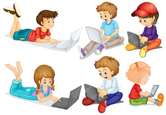 Boys and girls on their personal computers
