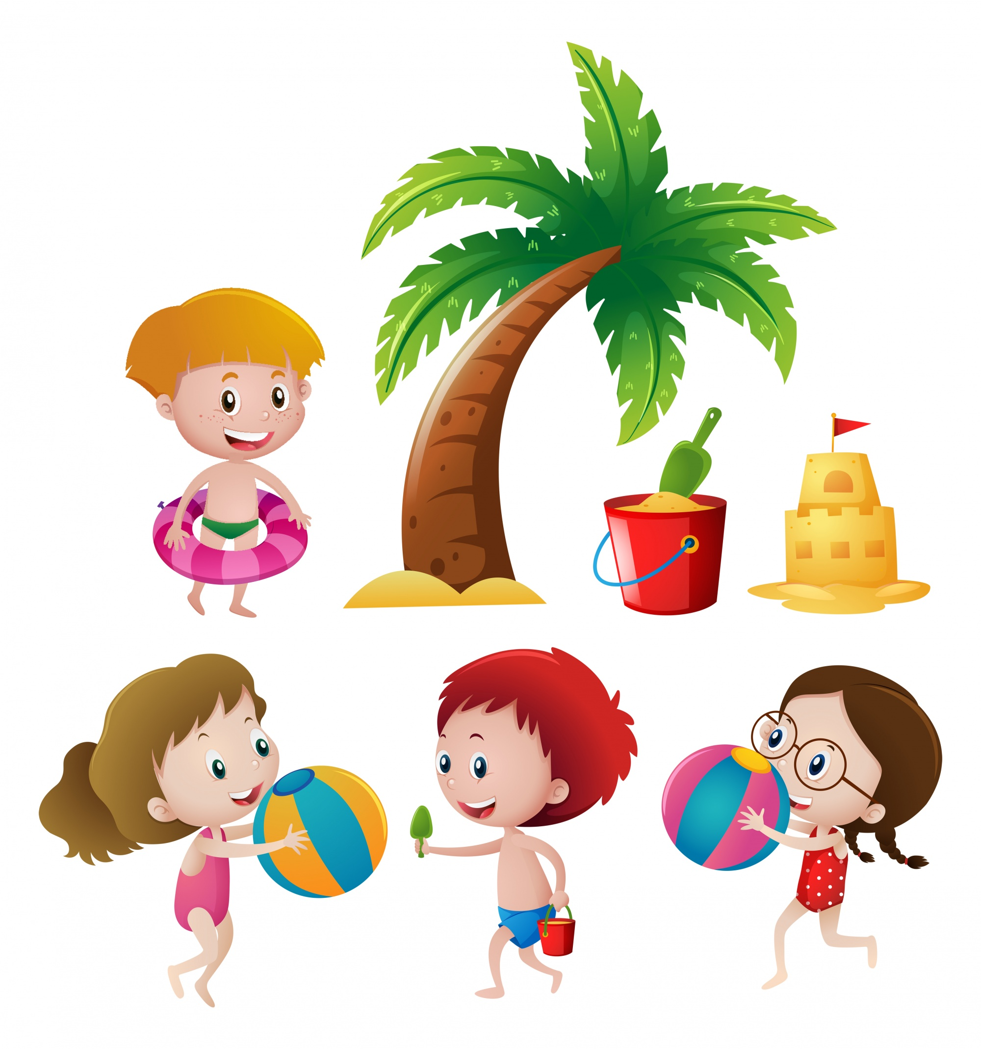 Boys and girls playing on beach