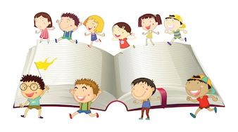 Boys and girls running on book illustration