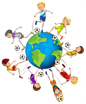Boys playing soccer around the world illustration