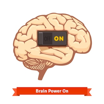 Brain power switch on. Strong mind concept