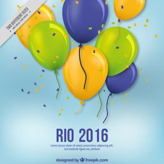 Brazil 2016 background with balloons and confetti