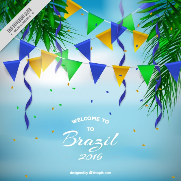 Brazil background with garlands for olympic games