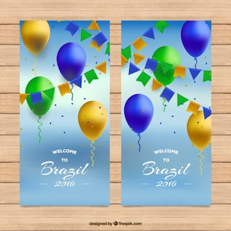 Brazil banners with realistic balloons
