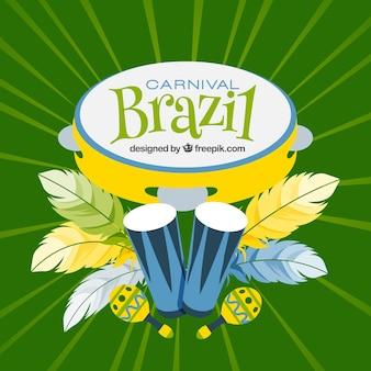 Brazil carnival background in green tones