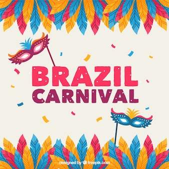 Brazil carnival background with feathers and masks