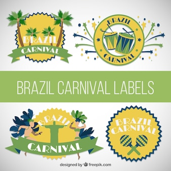 Brazil carnival labels pack