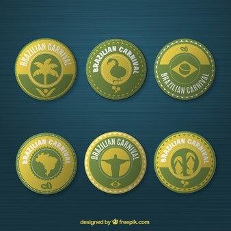 Brazil carnival rounded badges