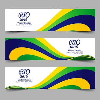 Brazil color banners with waves