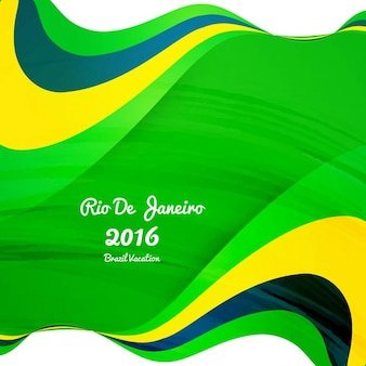 Brazil colors wavy background in abstract style