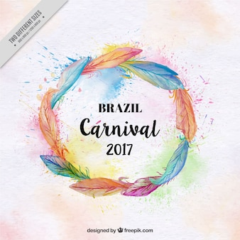Brazilian carnival background of feather wreath in watercolor style