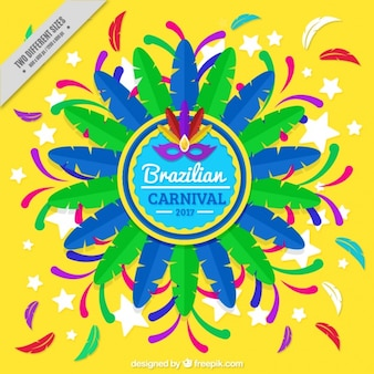 Brazilian carnival background with colorful feathers