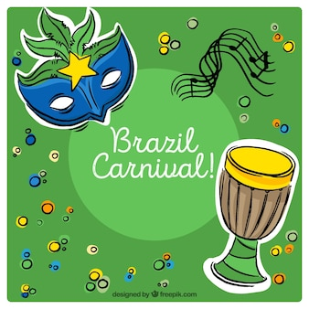 Brazilian carnival background with hand-drawn decorative items