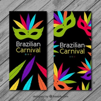 Brazilian carnival banners pack with colorful feathers