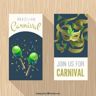 Brazilian carnival banners with green and golden details