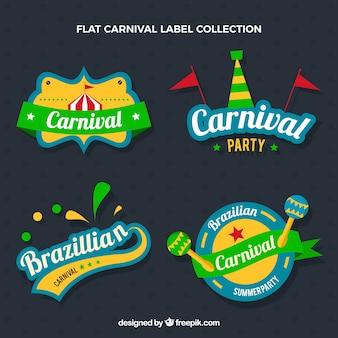 Brazilian carnival party stickers set