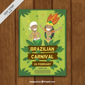 Brazilian carnival poster with happy people dancing